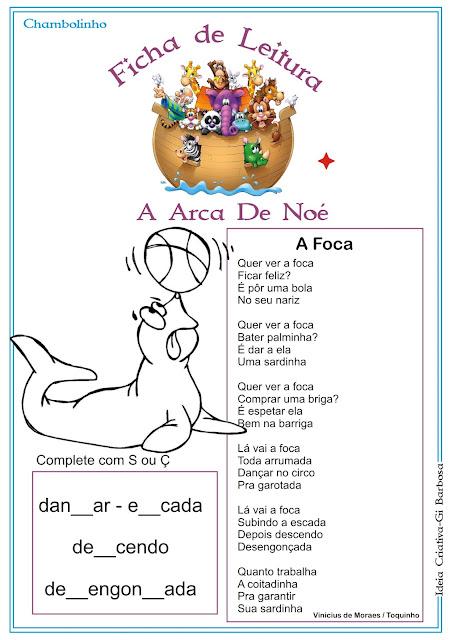 Ficha de Leitura Texto A Foca Arca de Noé