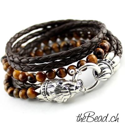 löwen kopf 925 sterling silber armband mit tigerauge perlen tolles herrenarmband und damenarmband von thebead