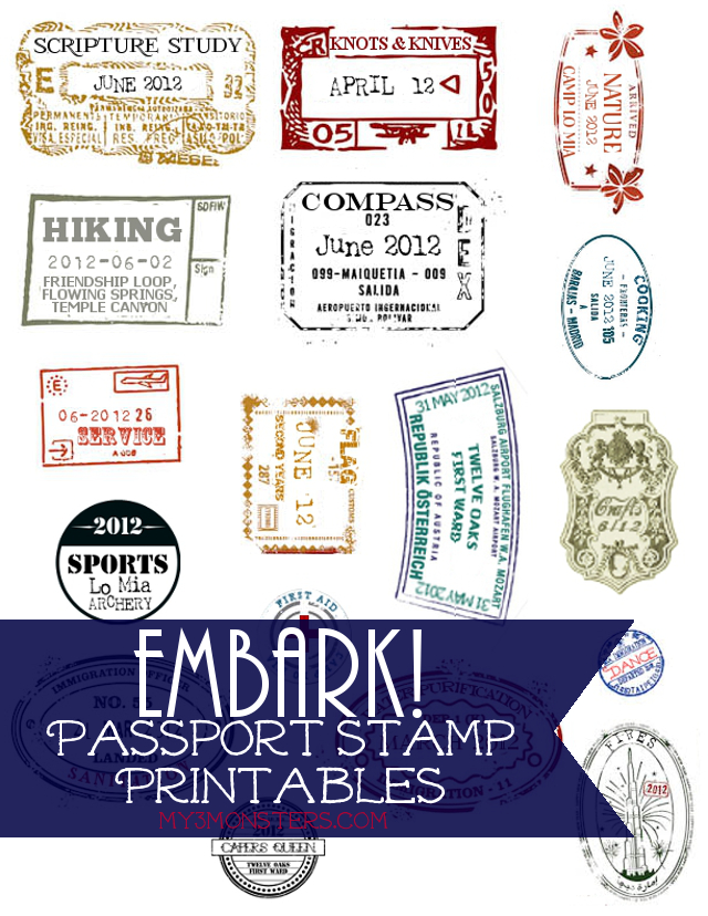 photo about Printable Passport Stamps for Kids identify My 3 Monsters: Embark!Pport Stamp Printables