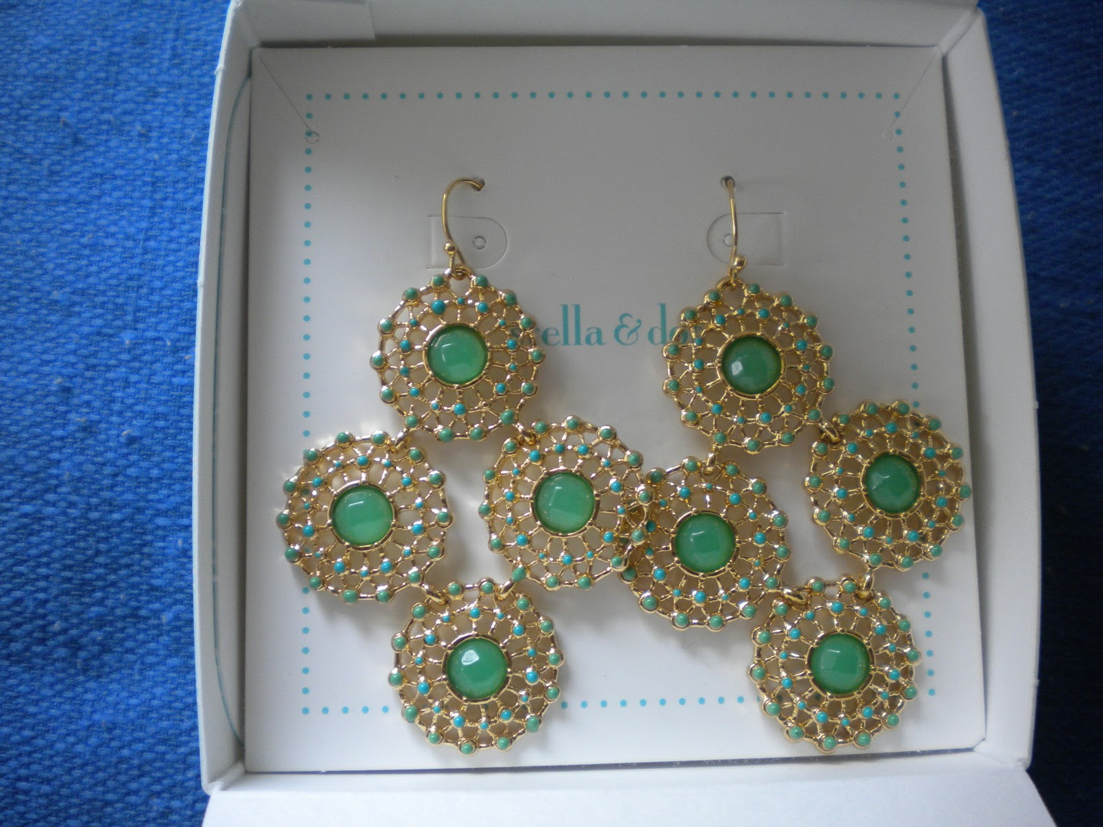 Garden Party Chandelier Earrings Green Gold Retail 54 00