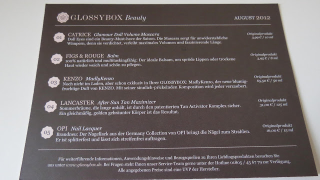 Glossybox August 2012