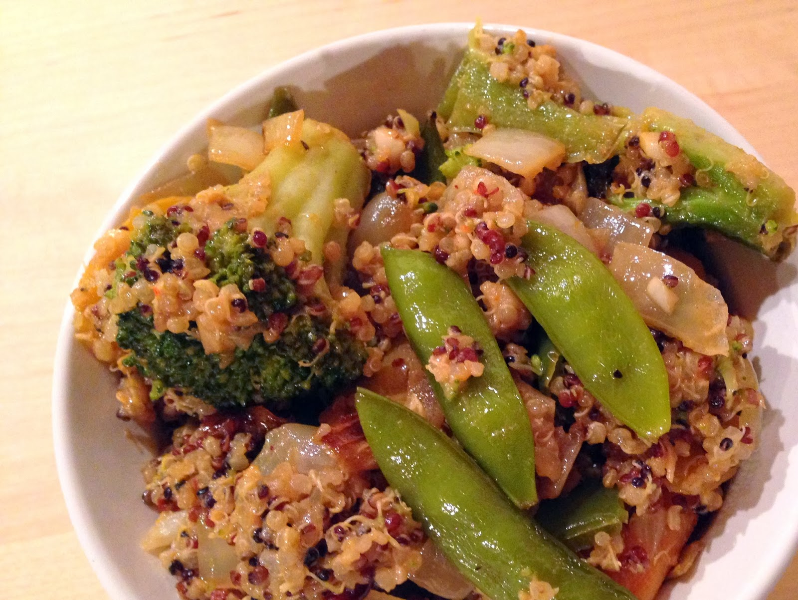 Roasted Veggie Quinoa Bowls with Peanut Sauce