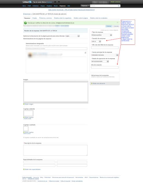 COMERCIO LEÓN - Como crea una página de empresa en LinkedIn - 4º rellenar datos