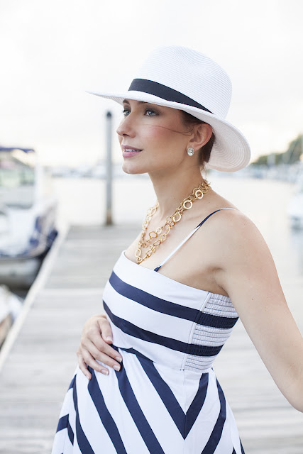 Amy West fashion blogger in nautical striped maxi maternity dress