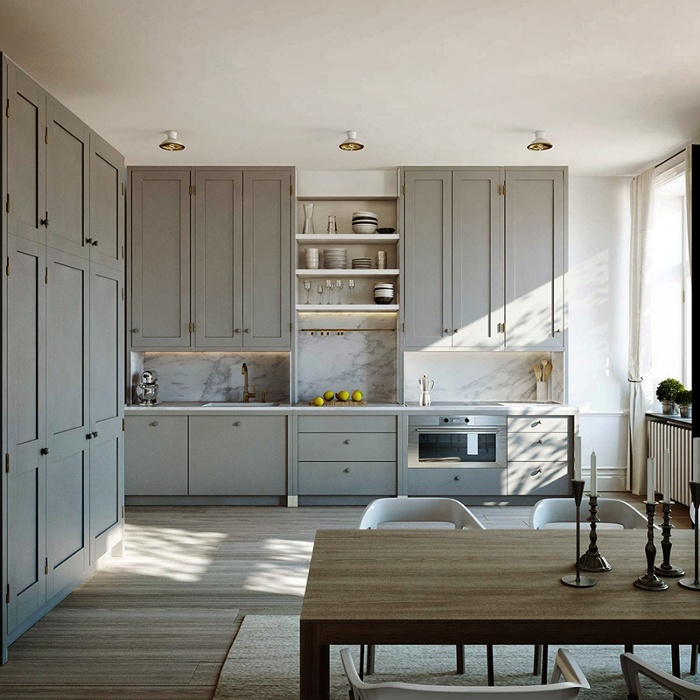 Lamb blonde room love grey kitchens for Grey kitchen wall units
