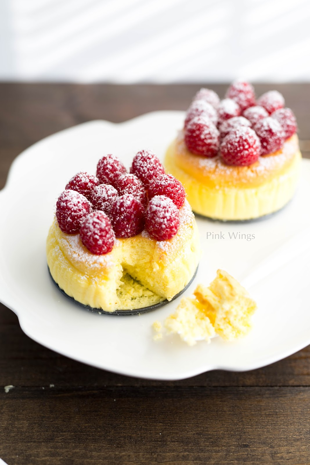 Japanese souffle cheesecake pink wings for Asian cuisine desserts