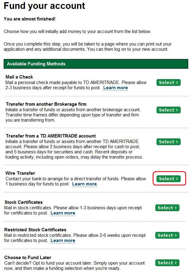 Td Ameritrade Wire Transfer Forex Trading