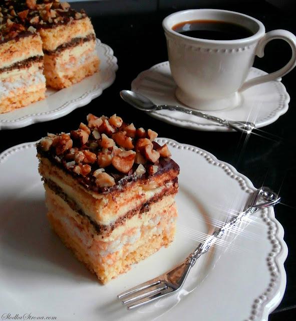 """Ciasto """"Snikers"""" Siostry Anastazji (Ciasto Orzechowo- Kokosowe z Masą Budyniową) - Przepis - Słodka Strona"""