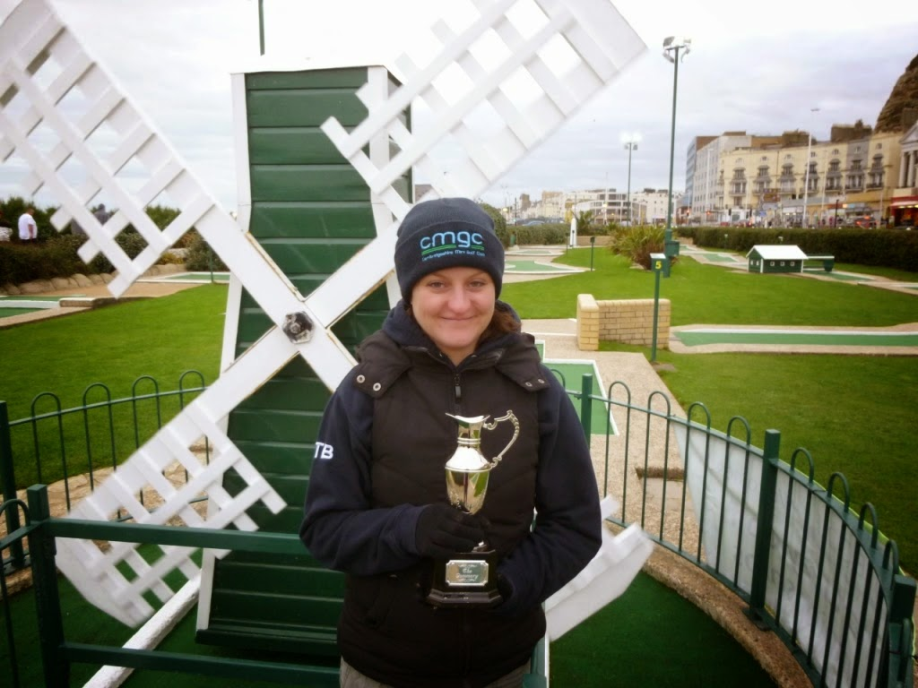 Minigolfer Emily Gottfried with The Gommery trophy awarded for most-holes-in-one scored in the World Crazy Golf Championships