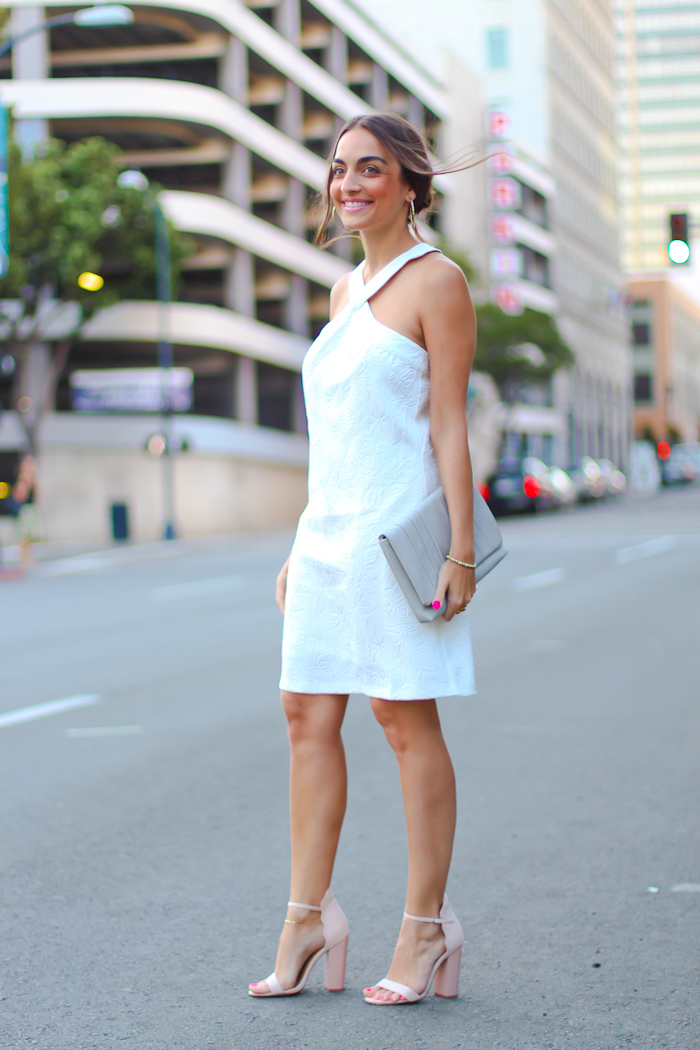little white dress, prima donna bag, nude heels chinese laundry