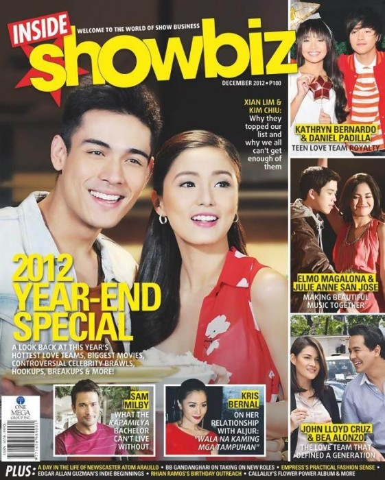 Kim Chiu and Xian Lim Cover Inside Showbiz Magazine December 2012 Issue