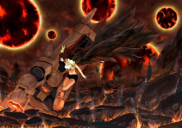 Metoer Weapon Black Wings Feather Girl Anime HD Wallpaper Desktop PC Background 2098