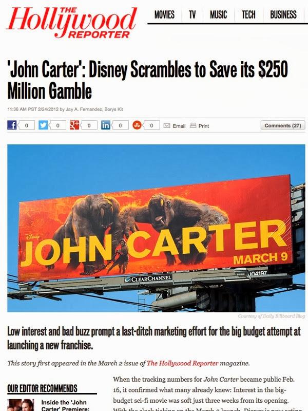 Hollywood Reporter John Carter billboard