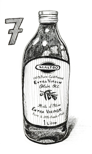 EDM 7 - Extra Virgin Olive Oil - Pen and Ink by Ana Tirolese ©2012