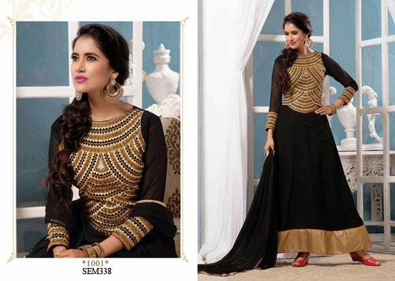 New Arrival Long Embroidery Neck Anarkali Suit