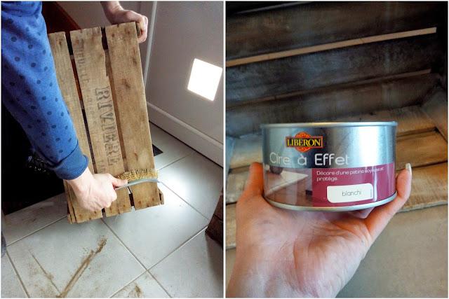 caisse en bois, DIY, effet blanchi, meuble TV, bullelodie