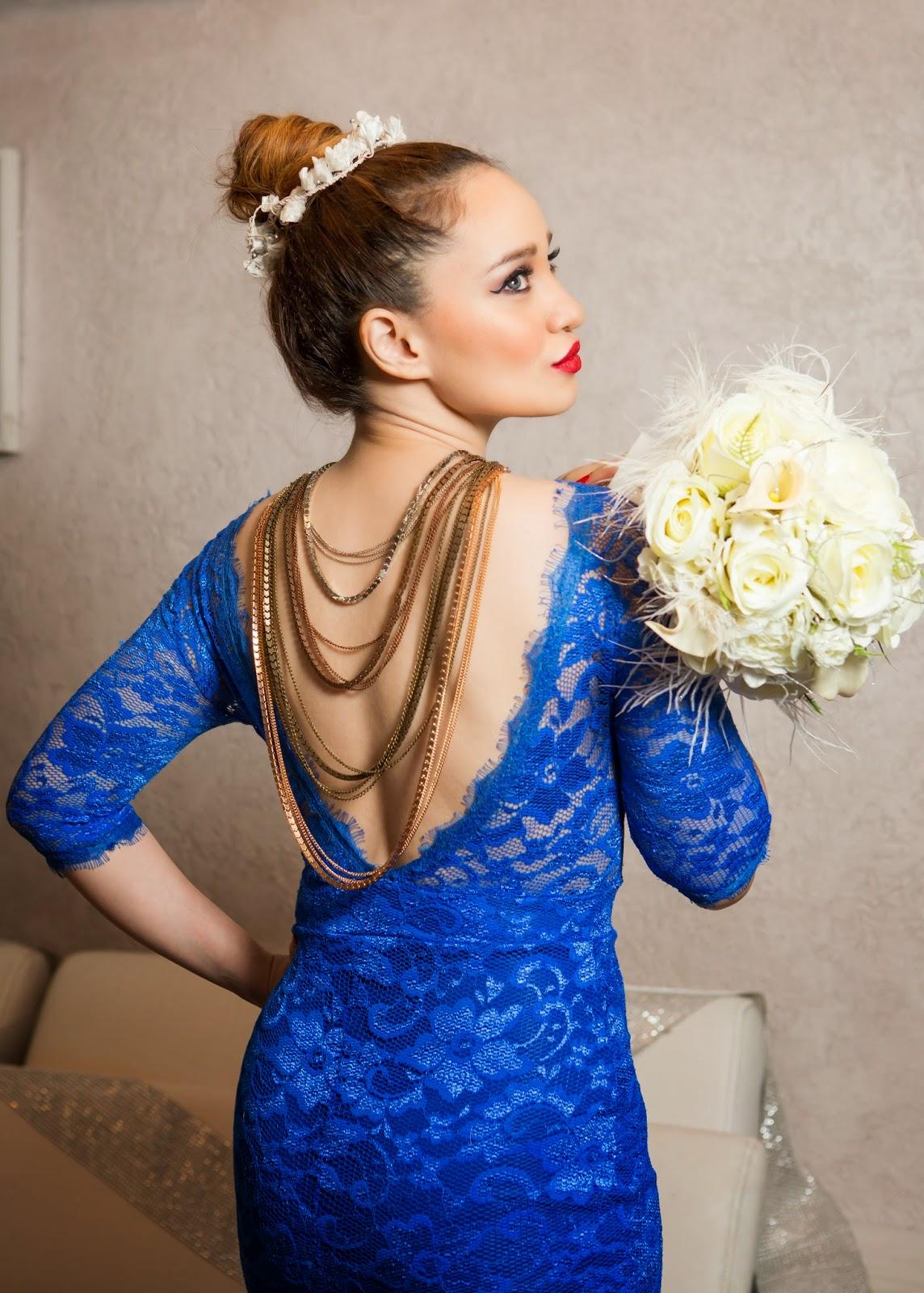 Sheinside Blue Lace Dress with a V back & a Back-Chain