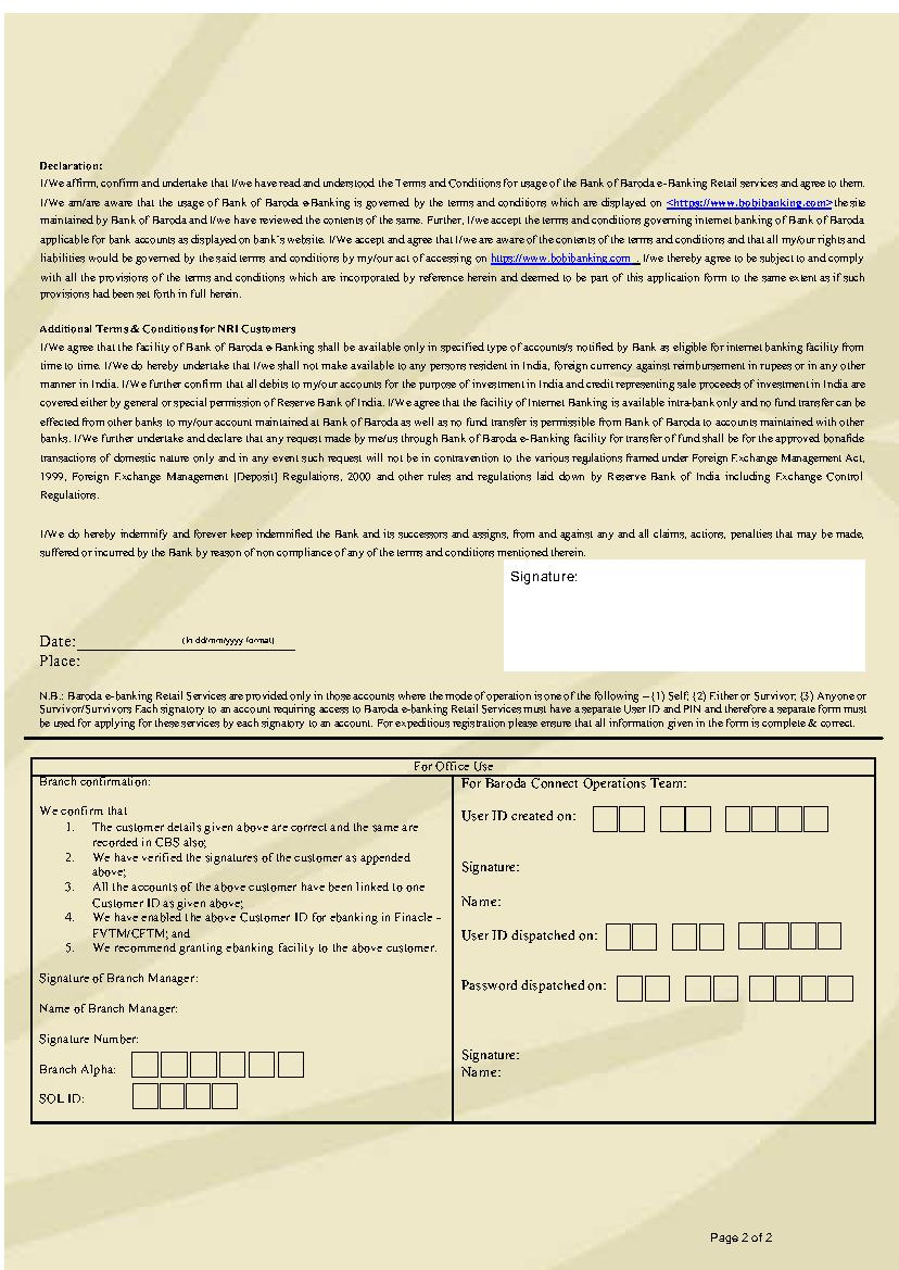 online banking short forms