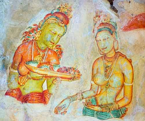 Sigiriya Frescoes - Two ladies with flowers