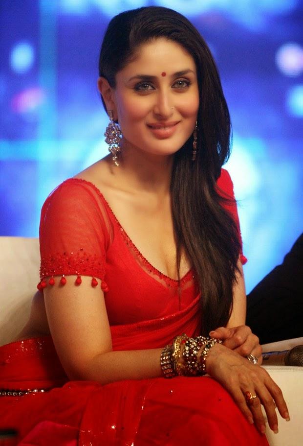 Actress Kareena Kapoor Unseen Cute Hot Transparent Red Saree Navel Show Spicy Photos Gallery