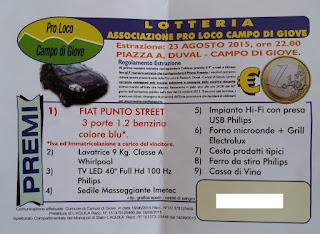 biglietto lotteria Pro Loco Campo di Giove 2015