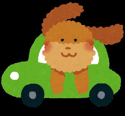 犬とドライブをしているイラスト(ペット)