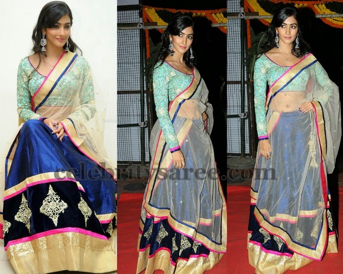 Pooja Hegde Velvet Half Sari