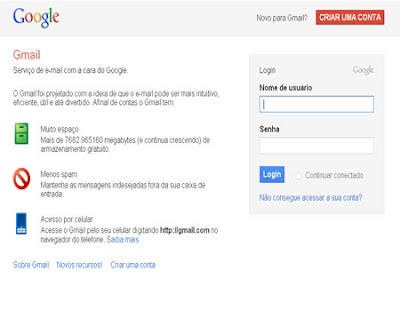login na conta de e-mail do Gmail