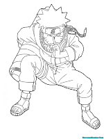 Mewarnai Gambar Naruto Shippuden Sedang Mengeluarkan Jurus 1000 Bayangan