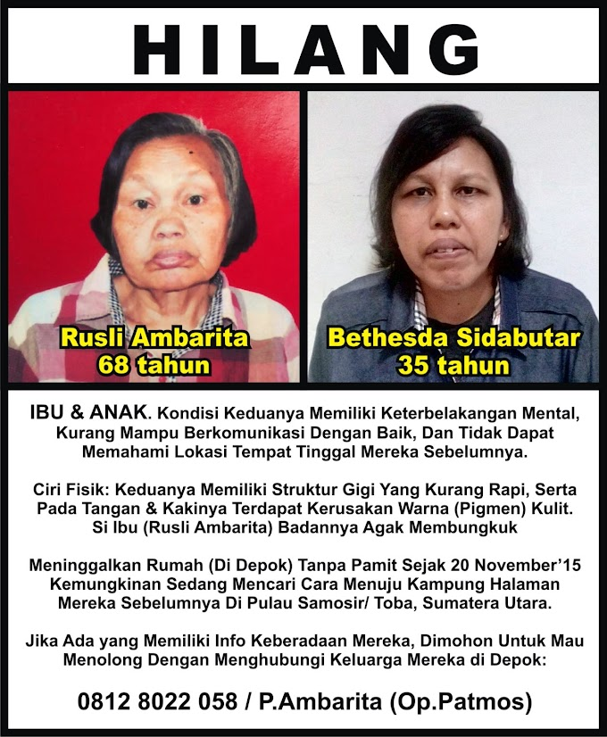 Ibu dan Anak Menghilang Dari Rumah Abangnya