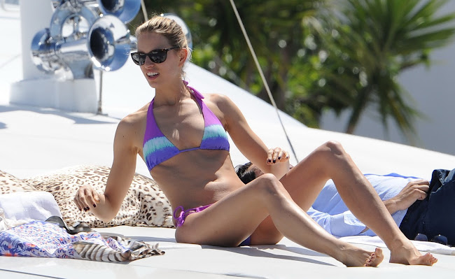 Karolina Kurkova in a tiny bikini on a yacht in Cannes