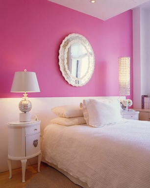 [A lovely pink and white girl's room]