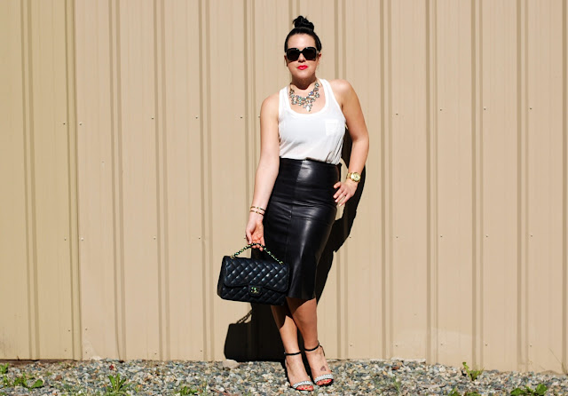 Danier leather skirt,Forever 21 silk tank,Chanel Jumbo classic flap,Zara heels,J.Crew necklace, Prada sunglasses