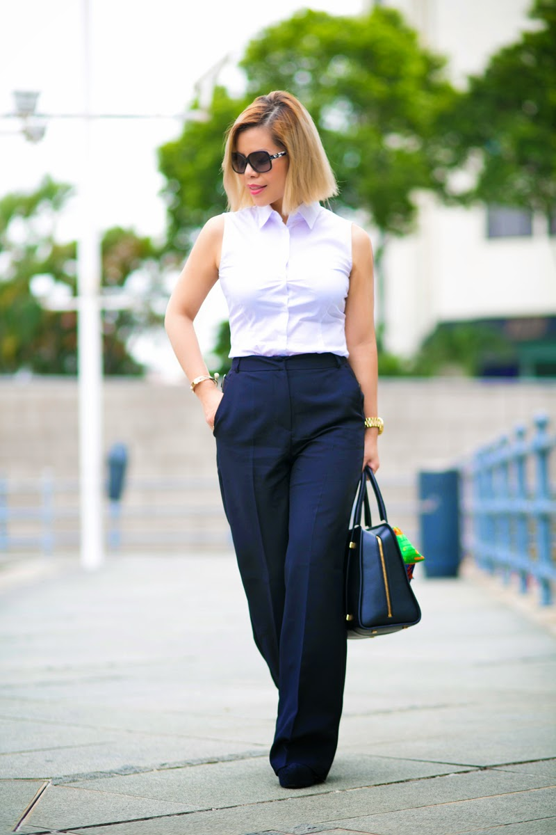 Black trousers and white shirt for corporate attire