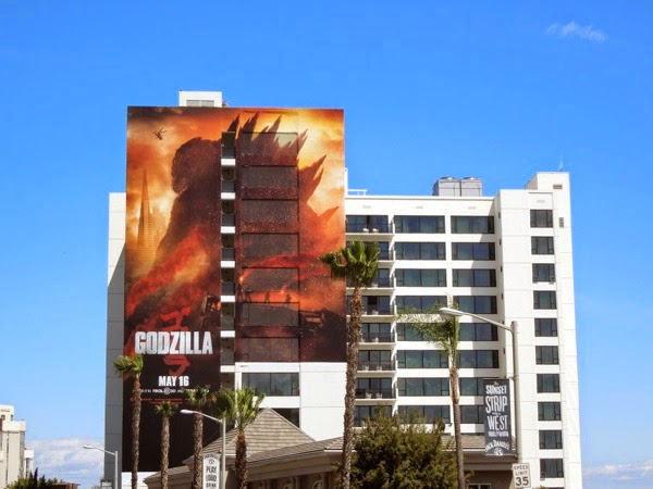 Giant Godzilla movie billboard Mondrian Hotel