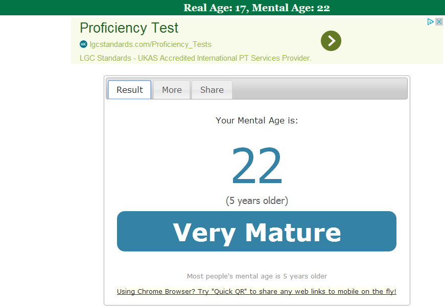 Websites Review: How to know your Mental Age