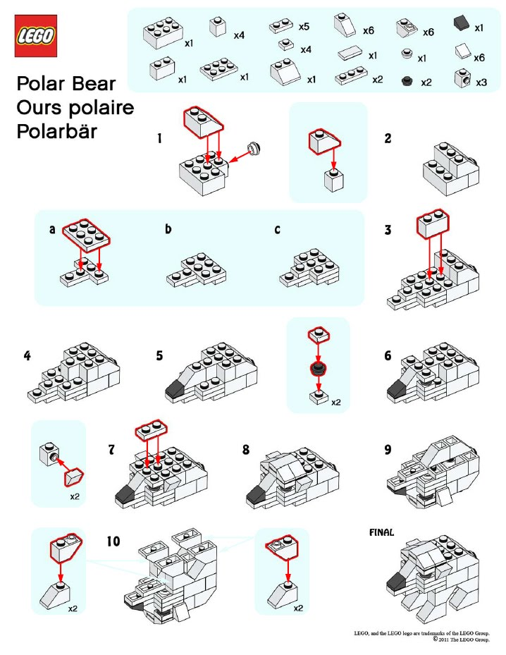 LEGO Polar Bear Instructions