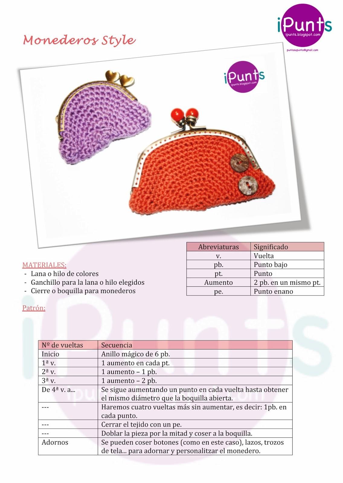 Contemporáneo Monedero Patrones De Crochet Libre Componente - Manta ...