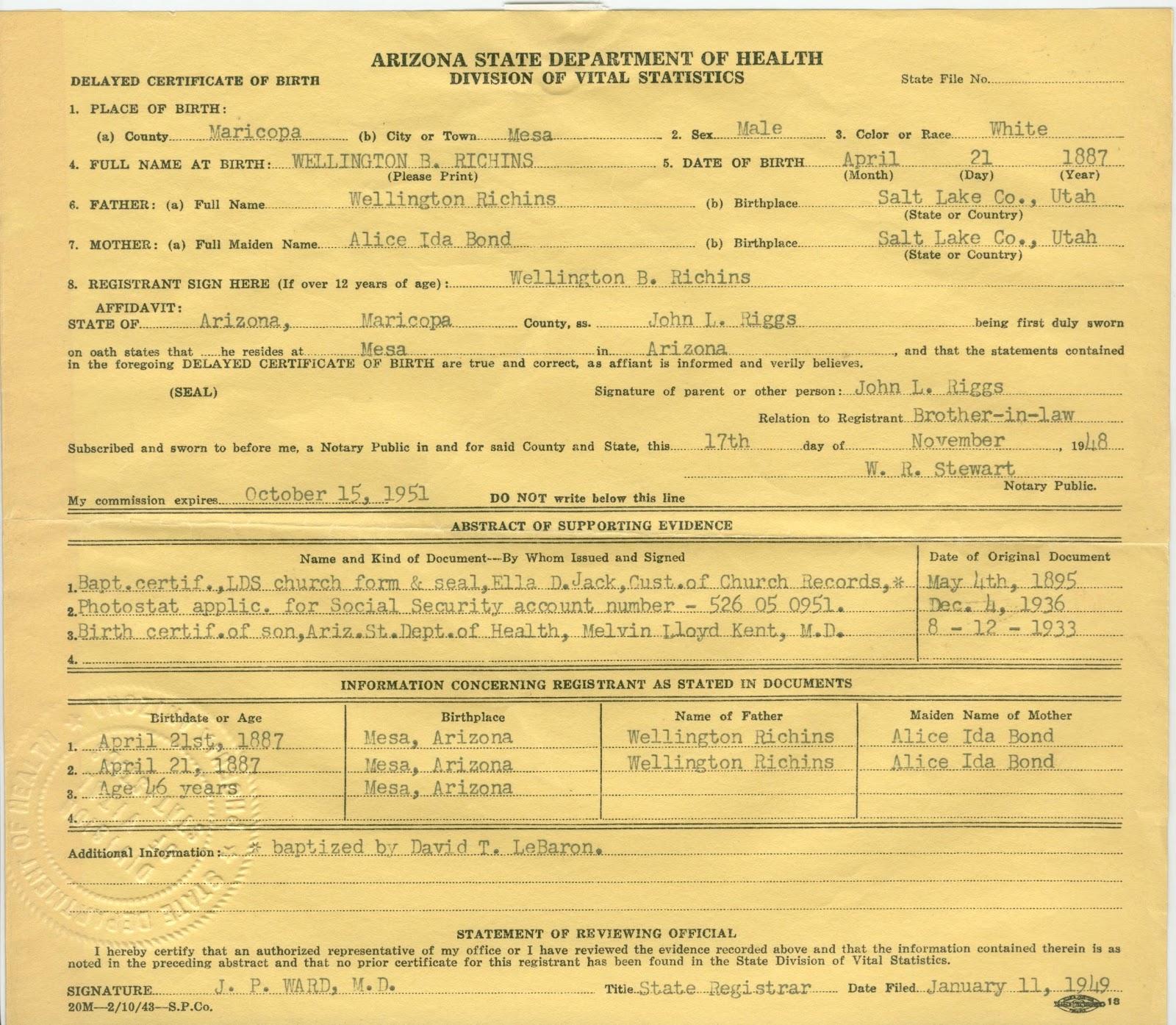 Wellington b richins family history wellington b richins birth certificate born april 21 1887 aiddatafo Gallery