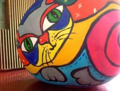piedras, rocas, decoración, pintura, Tutorial de Artesanía, gato