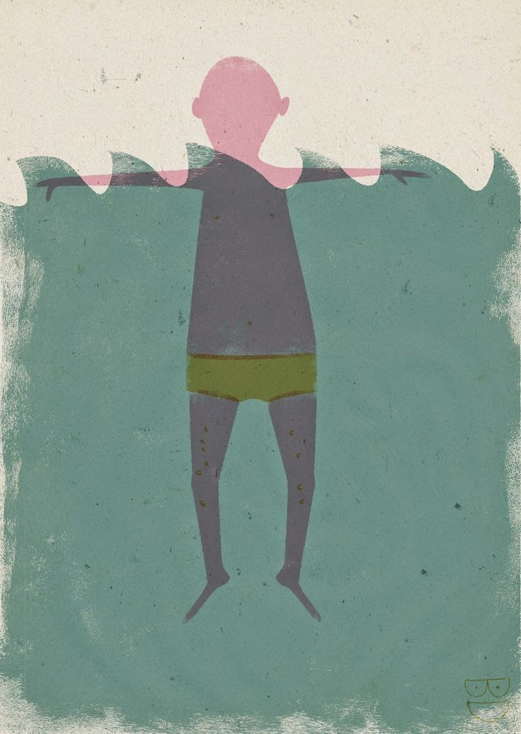 man cooling off in the sea illustration by Barbara Dziadosz