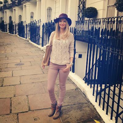Hat, Reiss, Jumper, Victoria Backham denim, Russell and Bromley, London