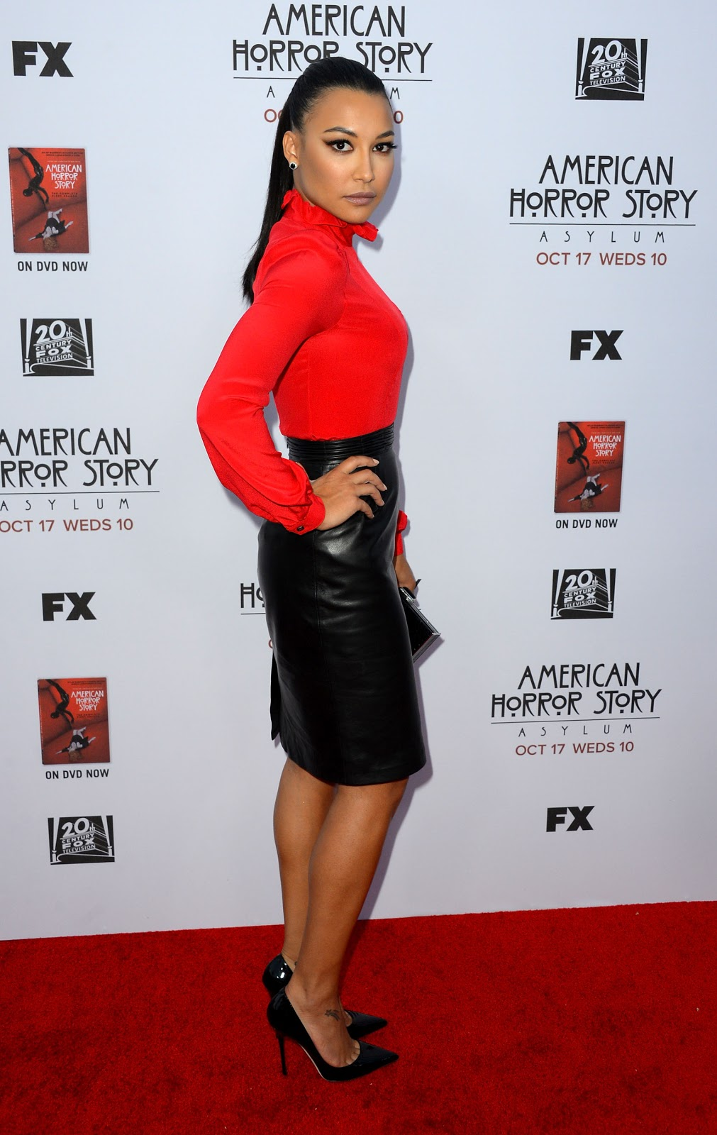 Naya Rivera In A Leather Pencil Skirt