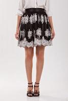 Fusta negru cu alb din dantela brodata D311 (Ama Fashion)