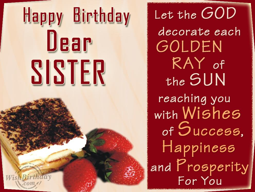 Happy Birthday Wishes For Sister 2016 – Happy Birthday Greeting to Sister