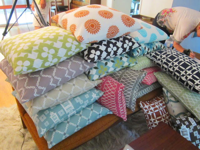 Stacks of the new COCOCOZY cotton pillows at the pillow photo shoot