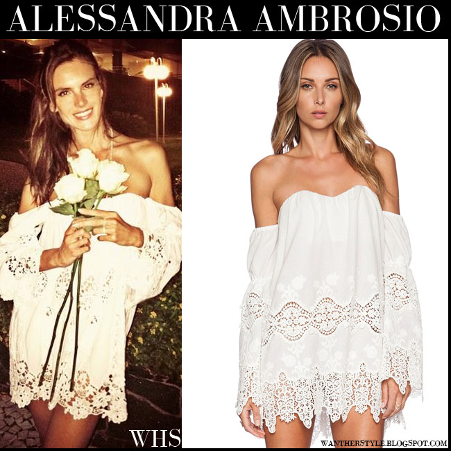 Alessandra Ambrosio in white lace off shoulder boho mini dress Stone Cold Fox what she wore july 2015
