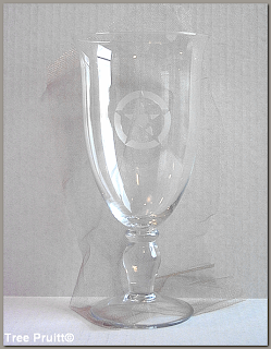 Pentagram Etched Glass Altar Chalice Cup by Tree Pruitt