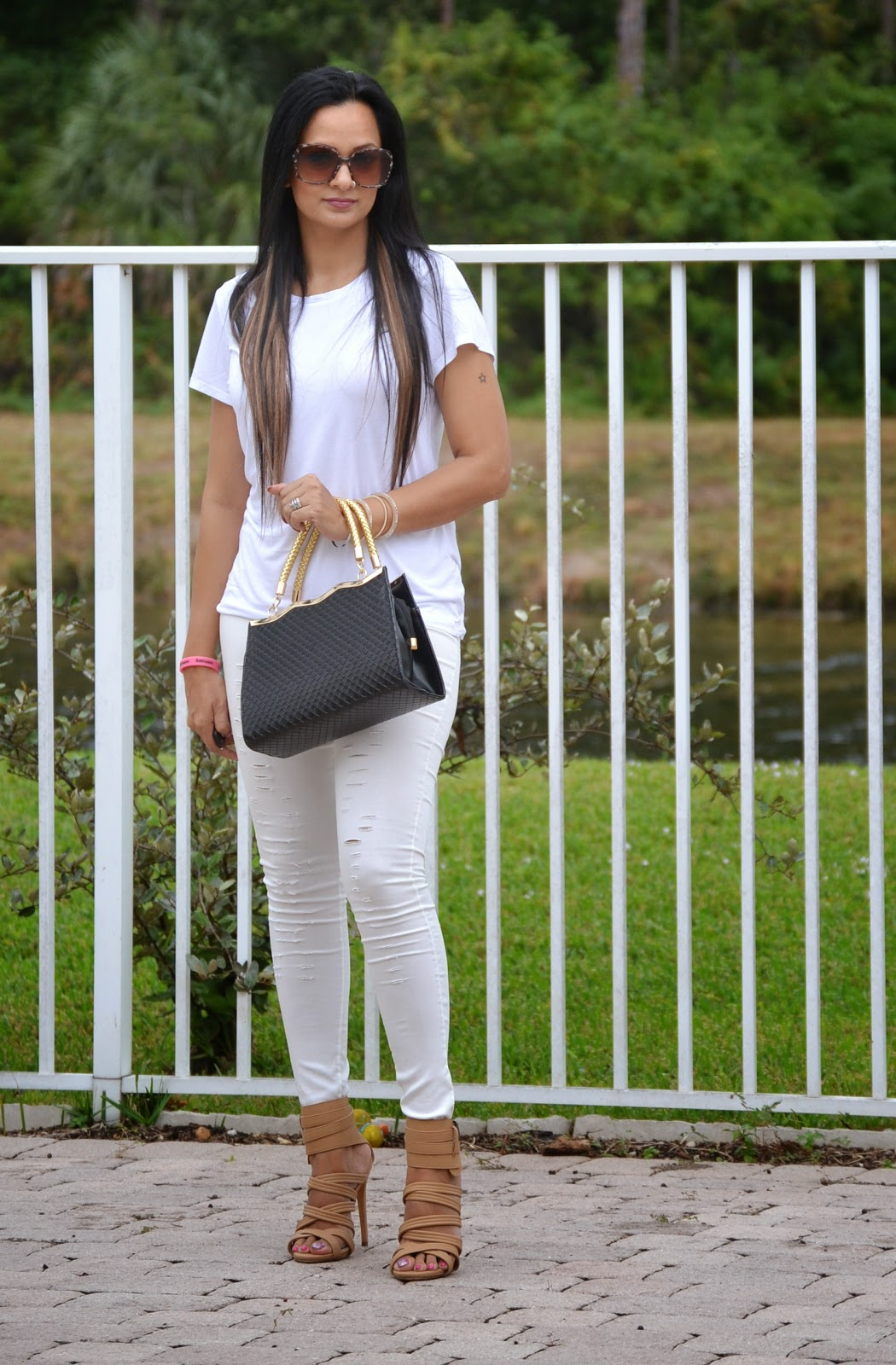 Kim Kardashian White Look For Less ripped pants gladiator sandals women designer shoes www.sandysandhu.co