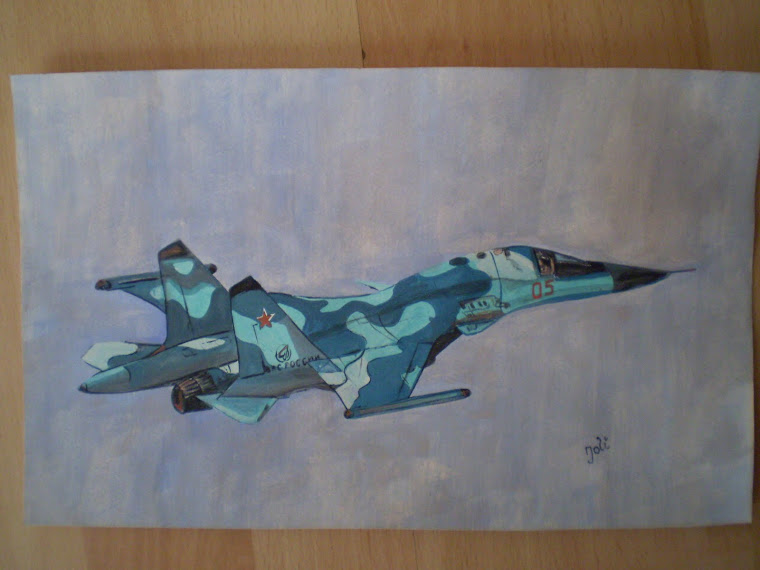 SU 34 Fighter bomber, copy , watercolor, Joli, 10,7/6,6 in